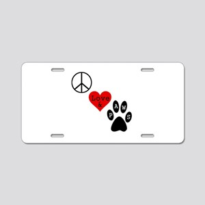 Peace Love & Paws Aluminum License Plate