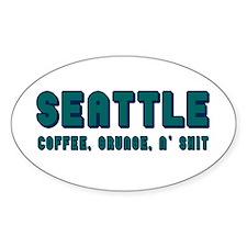 Funny Seattle Sticker (oval)