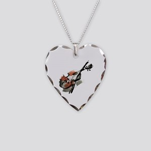 Violin Necklace Heart Charm