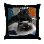 Black Persian and Himalayan Cats Throw Pillow