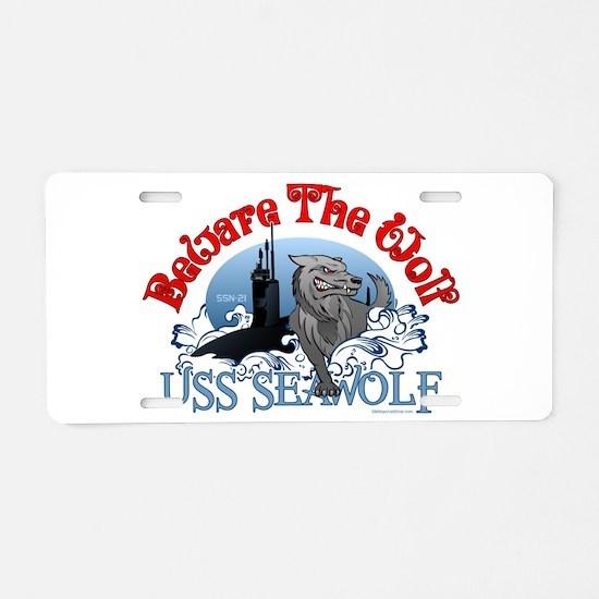 Beware The Wolf! USS Seawolf Aluminum License Plat