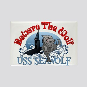 Beware The Wolf! USS Seawolf Rectangle Magnet
