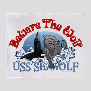 Beware The Wolf! USS Seawolf Throw Blanket