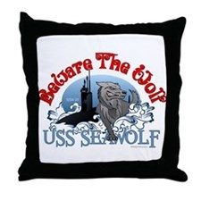 Beware The Wolf! USS Seawolf Throw Pillow