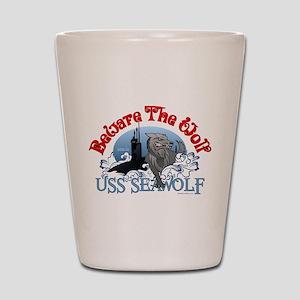 Beware The Wolf! USS Seawolf Shot Glass