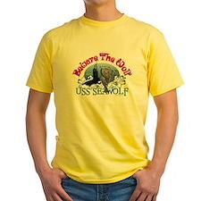 Beware The Wolf! USS Seawolf Yellow T-Shirt