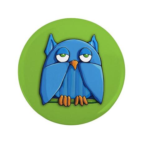 """Aqua Owl green 3.5"""" Button"""