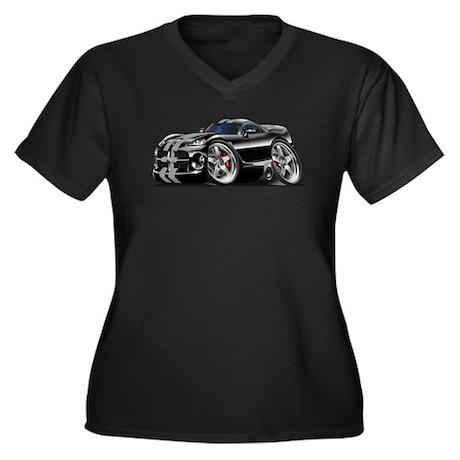 Viper GTS Black-Grey Car Women's Plus Size V-Neck