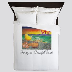 Imagine Peaceful Planet Queen Duvet