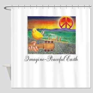 Imagine Peaceful Planet Shower Curtain