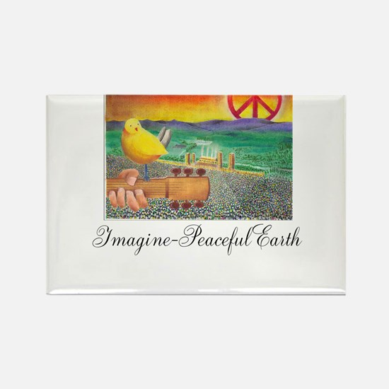 Imagine Peaceful Planet Rectangle Magnet (100 pack