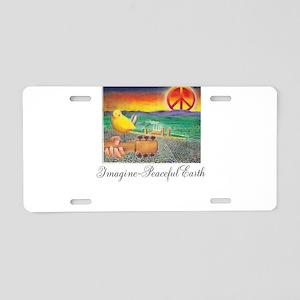 Imagine Peaceful Planet Aluminum License Plate