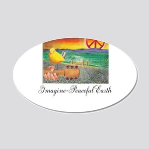 Imagine Peaceful Planet 22x14 Oval Wall Peel