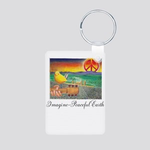Imagine Peaceful Planet Aluminum Photo Keychain