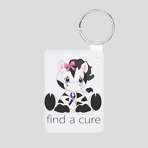 Find a cure Zebra Aluminum Photo Keychain