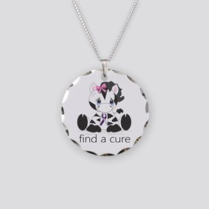Find a cure Zebra Necklace Circle Charm