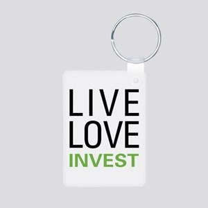 Live Love Invest Aluminum Photo Keychain
