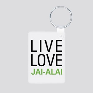 Live Love Jai-Alai Aluminum Photo Keychain