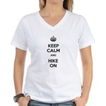 Keep Calm and Hike On Women's V-Neck T-Shirt