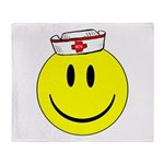 Registered Nurse Happy Face Throw Blanket