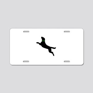 Black Dock Jumping Dog Aluminum License Plate