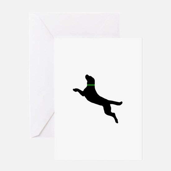 Black Dock Jumping Dog Greeting Card