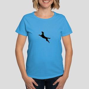 Black Dock Jumping Dog Women's Dark T-Shirt