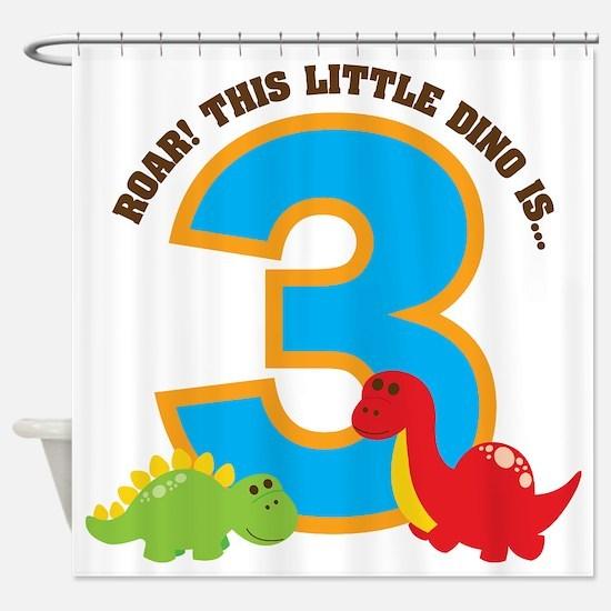 Dinosaur 3rd Birthday Shower Curtain