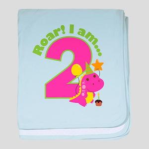 Girl Dinosaur 2nd Birthday baby blanket
