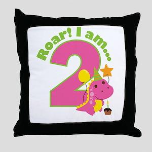 Girl Dinosaur 2nd Birthday Throw Pillow
