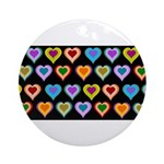 Groovy Hearts Pattern Ornament (Round)