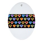 Groovy Hearts Pattern Ornament (Oval)
