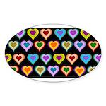 Groovy Hearts Pattern Sticker (Oval 50 pk)
