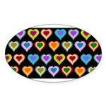Groovy Hearts Pattern Sticker (Oval)