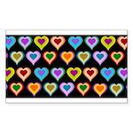 Groovy Hearts Pattern Sticker (Rectangle)
