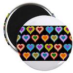 Groovy Hearts Pattern Magnet