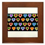 Groovy Hearts Pattern Framed Tile