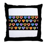 Groovy Hearts Pattern Throw Pillow