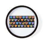 Groovy Hearts Pattern Wall Clock