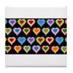 Groovy Hearts Pattern Tile Coaster