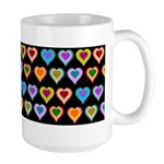 Groovy Hearts Pattern Large Mug