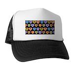 Groovy Hearts Pattern Trucker Hat