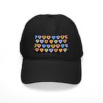 Groovy Hearts Pattern Black Cap
