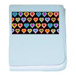 Groovy Hearts Pattern baby blanket