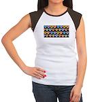 Groovy Hearts Pattern Women's Cap Sleeve T-Shirt