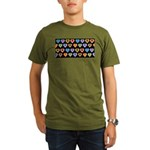 Groovy Hearts Pattern Organic Men's T-Shirt (dark)