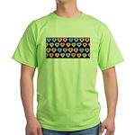 Groovy Hearts Pattern Green T-Shirt