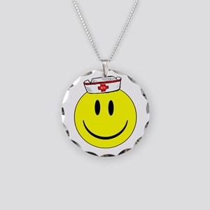 Registered Nurse Happy Face Necklace Circle Charm