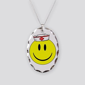 Registered Nurse Happy Face Necklace Oval Charm