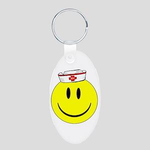 Registered Nurse Happy Face Aluminum Oval Keychain